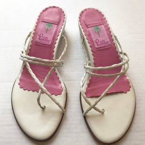 Lily Pulitzer | white pink sandal dainty leather 8